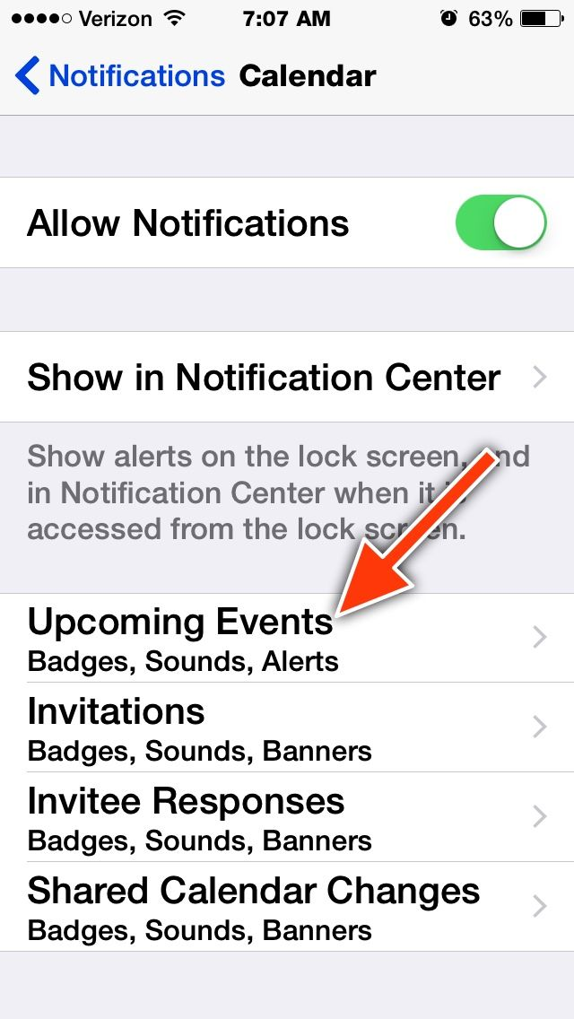 how to change notifitcations on apple calender