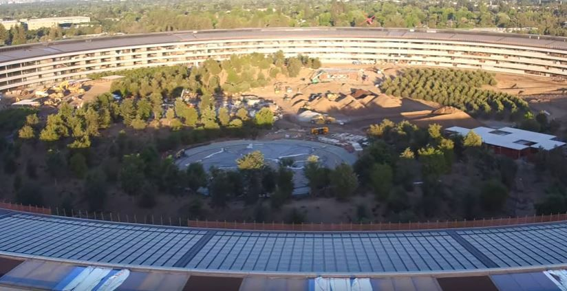 New Apple Park drone footage shows landscaping progress.JPG