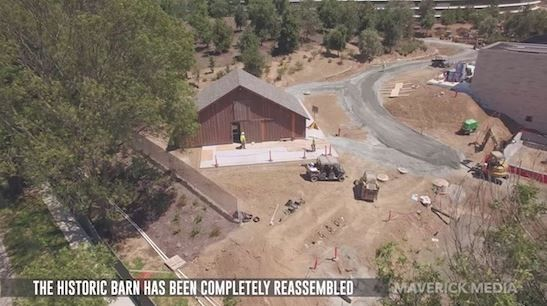 New Apple Park drone footage shows reassembled historic barn.JPG
